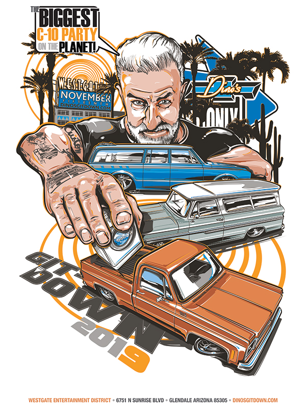 Dino's Git-Down 2019 signed poster by Brian Stupski of Problem Child Kustoms Studio