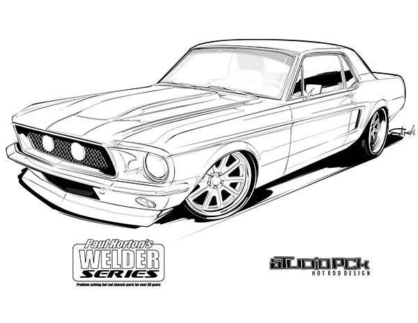 mustang-coloring page